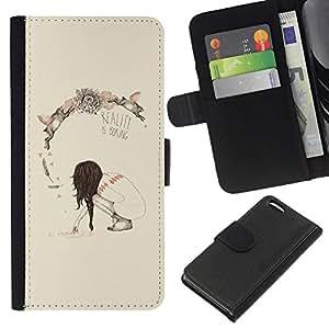 EJOY---La carpeta del tirón la caja de cuero de alta calidad de la PU Caso protector / Apple Iphone 5C / --Primavera Realidad Profundo Significado Boring