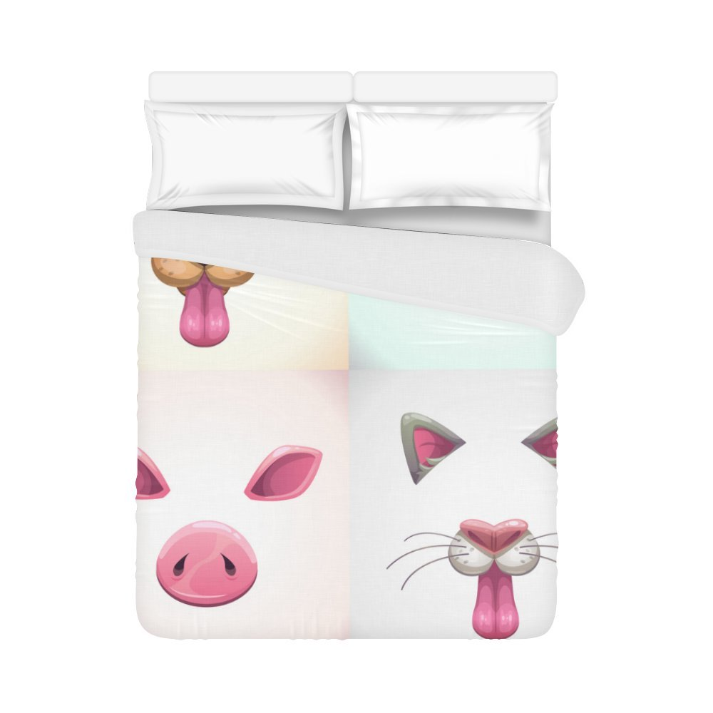your-fantasia Home Bedding Duvet Cover Cartoon Animal Face Dog, Bunny,Cat, Pig Ears And N Quilt Cover 86 x 70 Inches