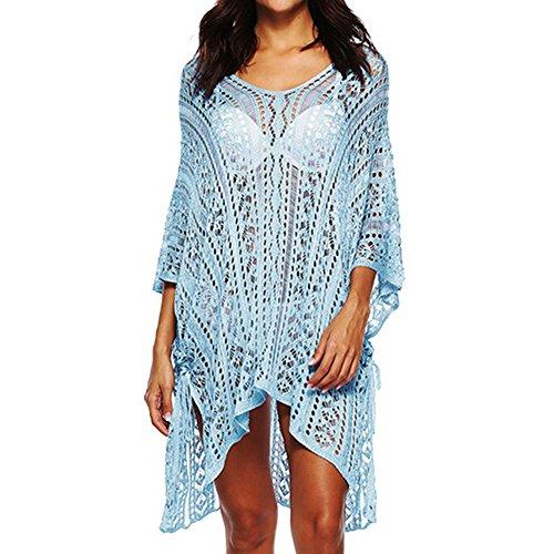 Femme Col Crochet Bleu Ciel Cover Taille Bohme Robe Bikini Blouse Dcontract Bonboho Plage Protection de Cisel Grande Tunique Up V Solaire q4H8d