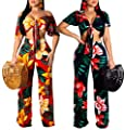 Women's Sexy Two Piece Outfits Elegant V Neck Tie Crop Top Palazzo Long Pants Floral Jumpsuit