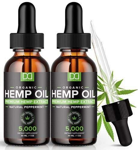 (2 Pack) Hemp Oil for Pain Relief Anxiety Sleep Mood Stress 5000mg, Immune Immunity Support - Best Pure Natural Organic Vitamins Fatty Acids Hemp Seed Extract Tincture Drops
