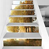 Stair Stickers Wall Stickers,6 PCS Self-adhesive,Fall Decorations,Rural Landscape on a Misty Fog Morning in Countryside Set Idyllic Theme,Green Yellow,Stair Riser Decal for Living Room, Hall, Kids Roo