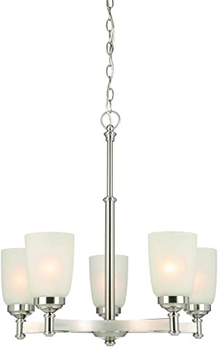 Hampton Bay 5-Light Brushed Nickel Chandelier with Frosted Glass Shades