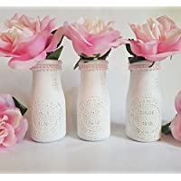 Milk Bottle Vase Set - Bud Vases- Dairy Bottle - Princess Party - Birthday Party - Baby Girl Shower - Girl First Birthday - Pearl Party - Pearl Party Decorations - Pink Pearls - Baby Girl