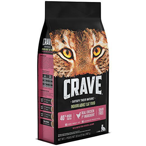 Crave Grain Free With Protein From Chicken & Salmon Dry Indoor Adult Cat Food, 2 Pound Bag