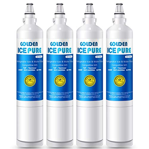 GOLDEN ICEPURE Refrigerator Water Filter, Compatible with LG LT600P, 5231JA2006A, 5231JA2006B, Kenmore 469990 (4-Pack) (Pur Water Filter For Kenmore Elite Refrigerator)