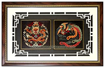 Chinese Wall Decor / Chinese Embroidery / Chinese Framed Art: Dragon U0026  Phoenix Embroidery