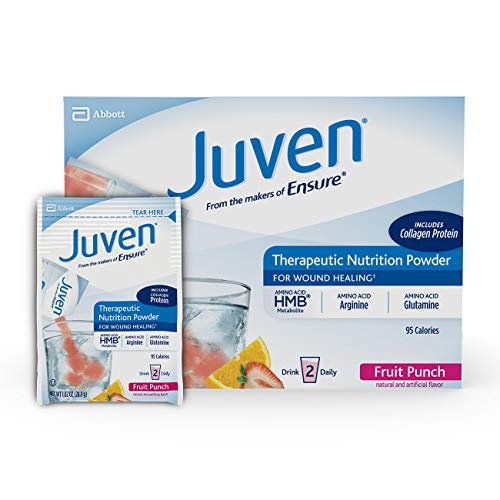 Juven Therapeutic Nutrition Drink Mix Powder for Wound Healing Includes Collagen Protein, Fruit Punch, 30 Count