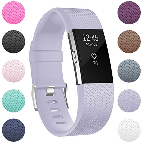 RedTaro Replacement Bands Compatible with Fitbit Charge 2, Classic & Special Edition Adjustable Sport Wristbands for Fitbit Charge 2 Women Men Large Small Lavender