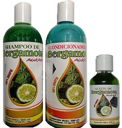 Bergamot Shampoo/Conditioner & Bergamota Oil 100% Natural Hair Regrowth & No More Dryness Volume, Thickness & Brightness by Aukar