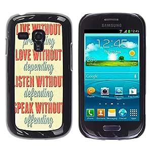 Jordan Colourful Shop - FOR Samsung Galaxy S3 MINI 8190 - live without pretenging - Personalizado negro cubierta de la caja de pl??stico