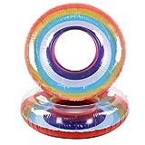 Gbell Inflatable Rainbow Swim Rings - HOT Swimming Pool Fruit Rings Float Raft for Teens Boys Girls Adults Diameter 60/70/80/90/108CM (108CM)