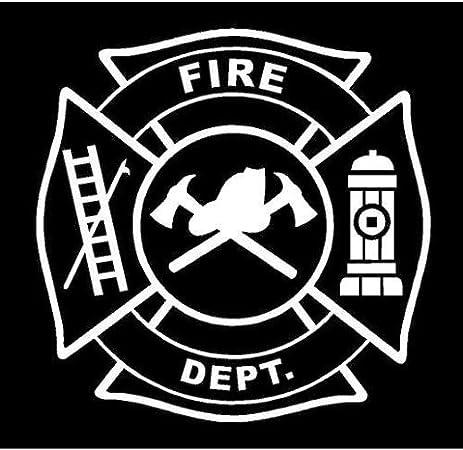 amazon com white vinyl decal maltese cross fire badge fireman