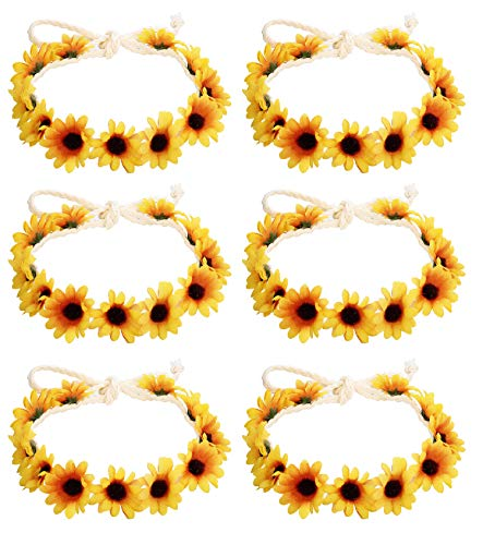 Milacolato 6-12Pcs Handmade Daisies Sunflower Headband Boho Floral Wreath Bridal Headpiece for Wedding Festivals Hair Accessories Yellow -
