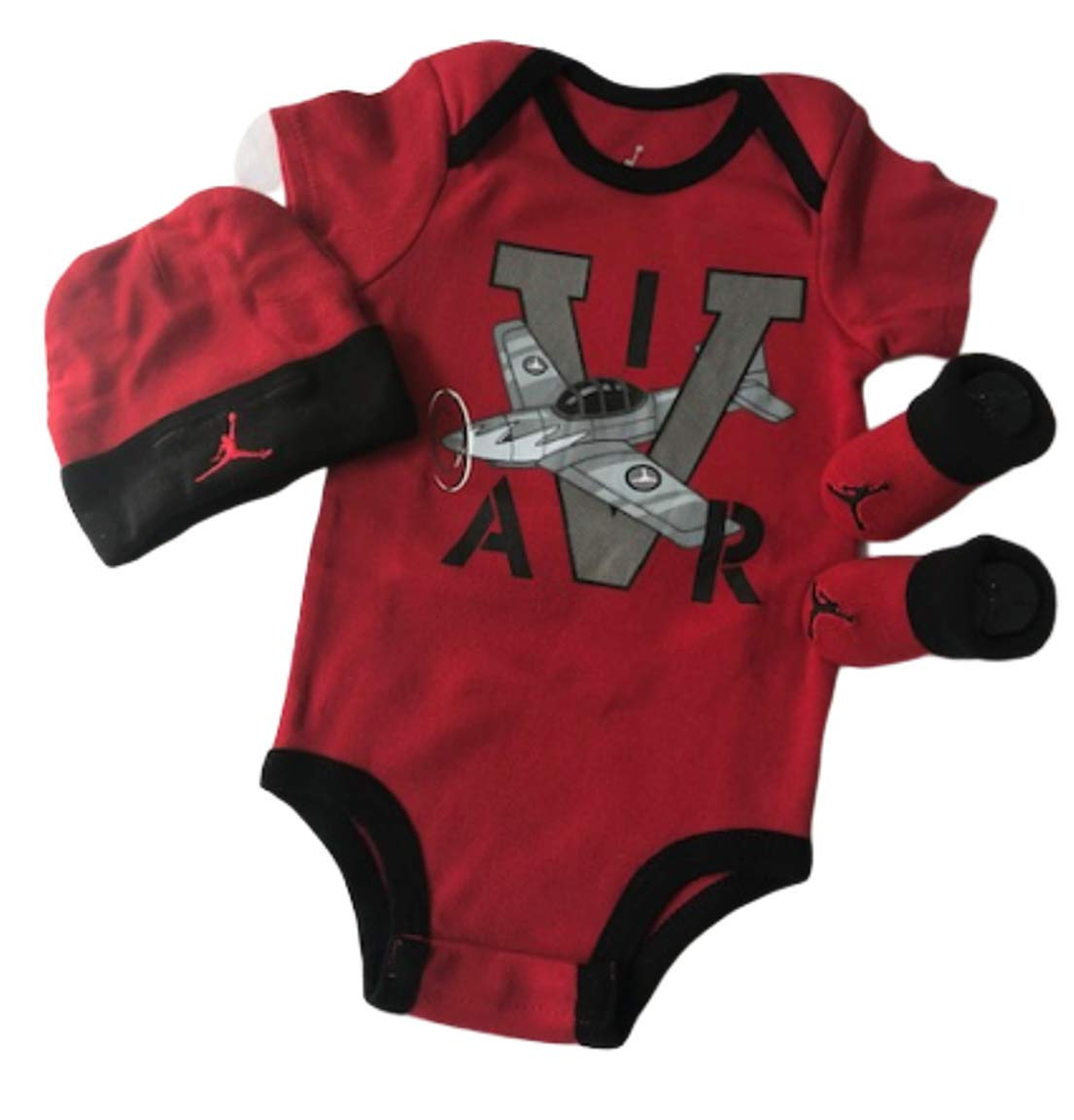 Nike Michael Jordan Infant Layette 3 Pcs Sets Bodysuit Cap and Booties (Black/RED Plane) by Nike