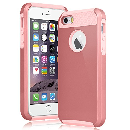 iPhone SE Case,iPhone 5S Case, Zectoo Slim Shockproof Armor Case Hybrid Rugged Impact Protection Ultra Protective Cover Dual Layer For Apple iPhone 5S Plastic Shell Outer + TPU Rubber Inner Rose Gold