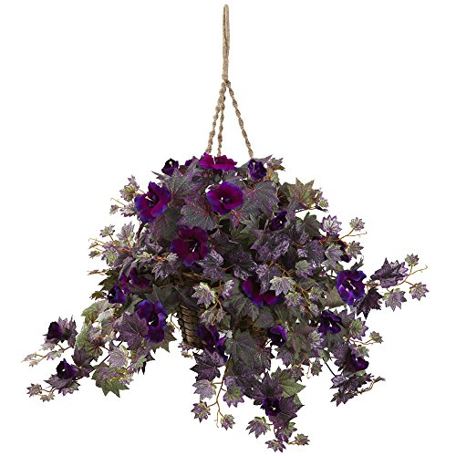 Nearly Natural 6842 Morning Glory Hanging Basket