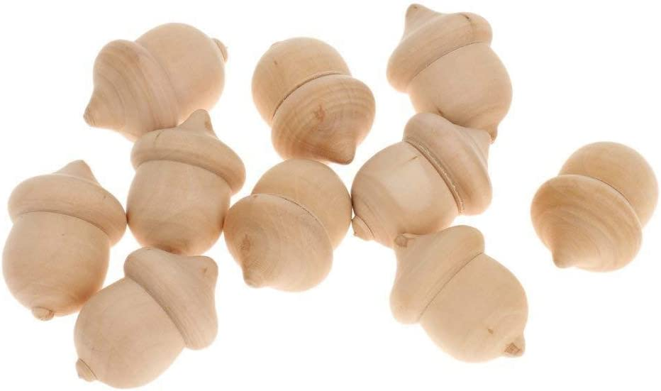 50Pcs Wood Acorn DIY Natural Wooden Acorn for Arts Crafts Kid Drawing Toys