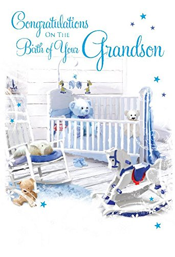 A BEAUTIFUL NEW BABY BOY CARD*ROCKING HORSE DESIGN*GREETING*BLUE