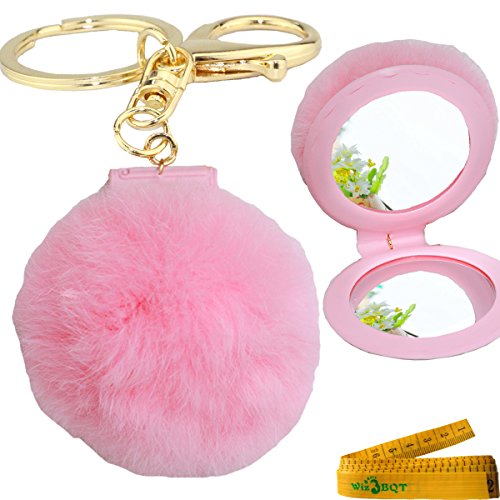 Gold Plated Keychain Car Phone Purse Bag Decoration Holiday Gift with Plush Fur Ball and Leather Cosmetic Makeup Mirrors (Pink) (Mirror Ball Keychain)