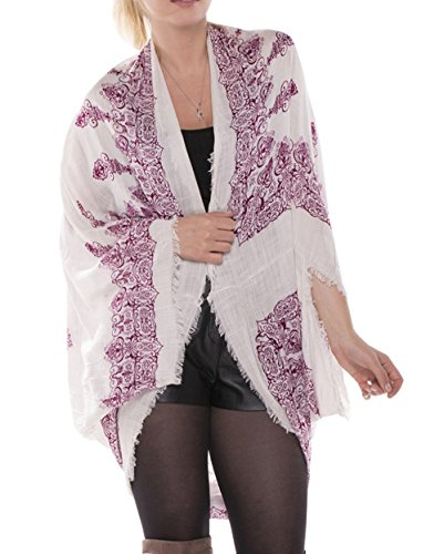 Cotton Kimono Wrap (Achillea Mandala Henna Cocoon Kimono Cardigan Wrap Boho Summer Evening Cover-up For Women (Wine Mandala Henna))