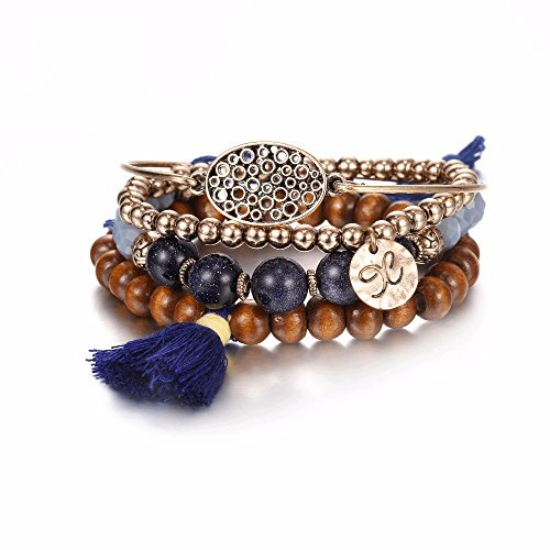eManco Handmade Yoga Bracelets for Women Tassel Wood Beads Crystal Gold Alloy Vintage Jewelry