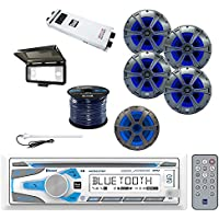 Dual Single-DIN Bluetooth Receiver with Dual 2-way Speakers 2-Pairs, Dual Subwoofer Marine Speaker, Dual 5-Chan Amplifier, Enrock Speaker Wire, Enrock Rubber Mast Antenna & Enrock Dash Kit Protector