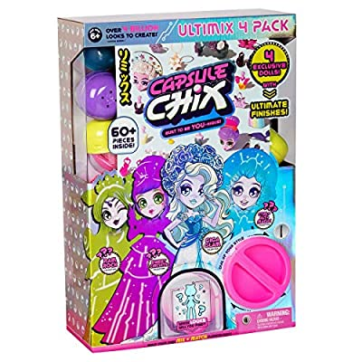 Capsule Chix Ultimix 4 Pack,  4.5 inch Small Doll with Capsule Machine Unboxing and Mix and Match Fashions and Accessories & Giga Glam Collection, 4.5 inch Doll with Capsule Machine Unboxing: Toys & Games