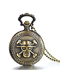 JewelryWe Antique Bronze Anime Skull Cartoon One Piece Style Luffy Quartz Pocket Watch Necklace 31.5 inch Chain (with Gift Bag)