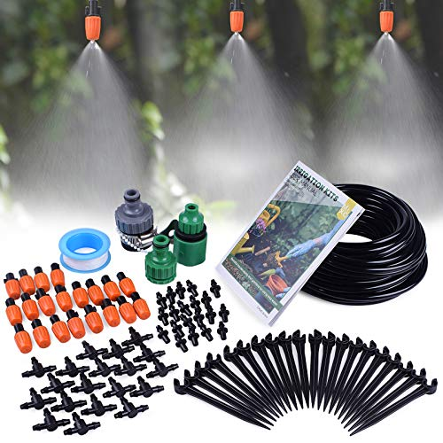 "MIXC 1/4-inch Mist Irrigation Kits Accessories Plant Watering System with 50ft 1/4"" Blank Distribution Tubing Hose…"