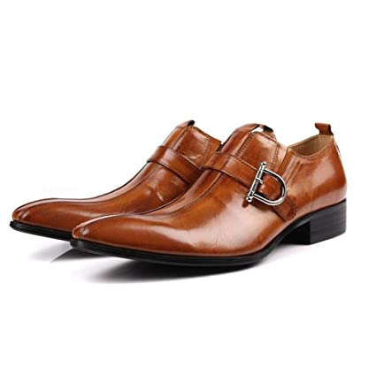 bfe59ac7932a Amazon.com: Hy Men's Leather Shoes, Fall Winter Pointed Personality ...