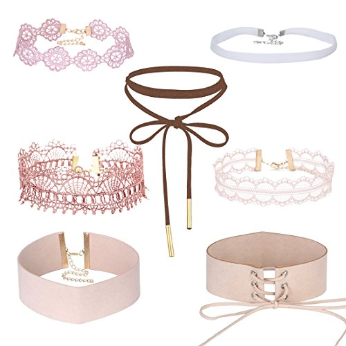 Tpocean Pink Lace Choker Necklace Set Gothic Floral Tattoo Thick Choker Necklace for Women Girls 90s 7 PCS