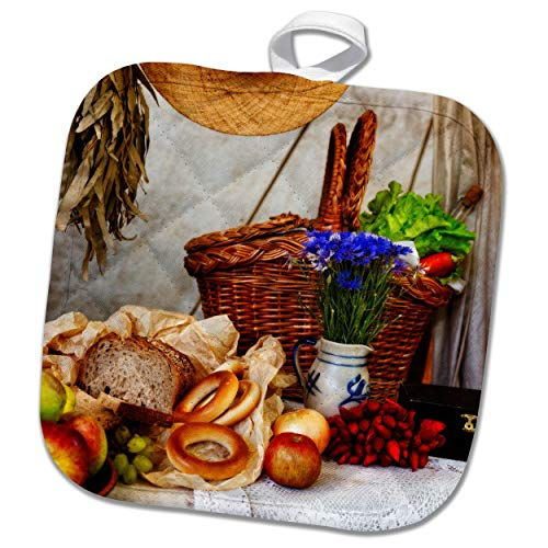 (3dRose Alexis Photography - Still-Life - Bunch of Blue cornflowers, Bread, Apples, red Pepper, Snack Basket - 8x8 Potholder (PHL_304791_1))