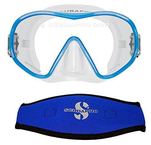 - ScubaPro Solo Scuba Snorkeling Dive Mask, (Blue) w/Neoprene Mask Strap Cover