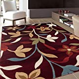 Rugshop Modern Contemporary Leaves Design Area Rug, 7′ 10″ x 10′ 2″, Burgundy Review