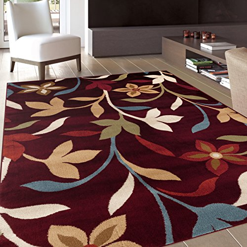 Burgundy Carpet - Rugshop Modern Contemporary Leaves Design Area Rug, 3'3