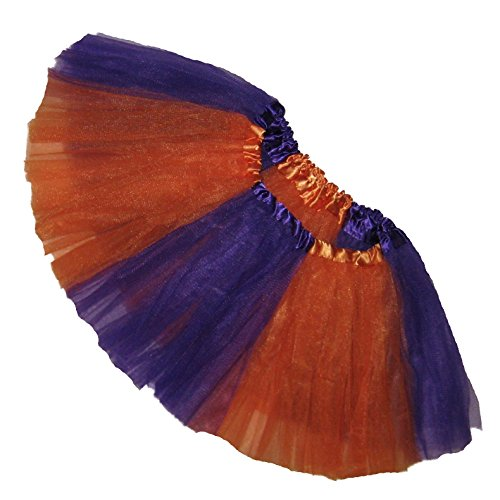 Clemson Tiger Cheerleader Costume (Southern Wrag Company ADULT TEAM SPIRIT Tutu ORANGE PURPLE Sizes S-XXL (S:TUTU WAIST 22-42))