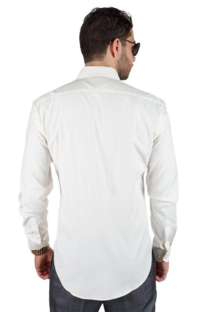 AZAR MAN Tailored Slim Fit Men's Unique Color Dress Shirt Spread Collar (XLarge 17, Ivory Off White) by AZAR MAN