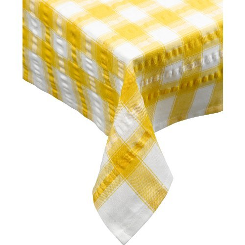 (Seersucker Oblong / Rectangle Checked Tablecloth Cotton Check Downview Table Linen 50 x 90 (Gold) by Downview)
