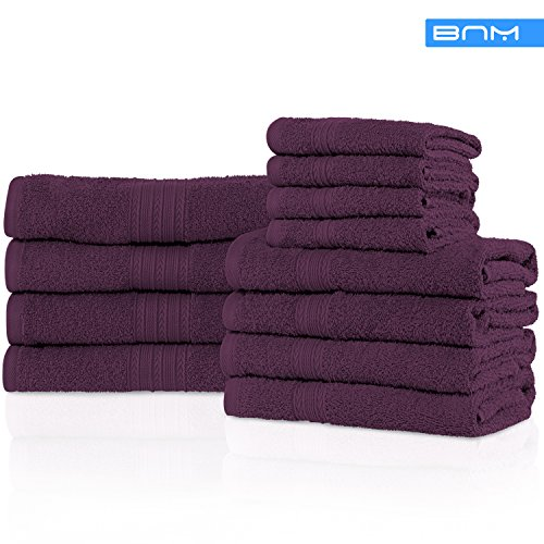 Blue Nile Mills Eco-Friendly 100% Ring-Spun Cotton, 12-Piece Bathroom Towel Set, Ultra Absorbent, Super Soft, Attractive Border, Eggplant