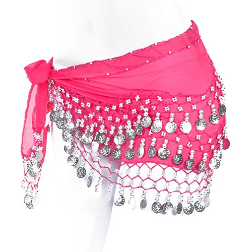 Lilyy Chiffon Dangling Gold Coins Belly Dance Hip Skirt Scarf Wrap Belt (HS-Rose Red, Silver Coin) -