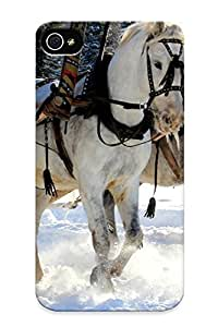 First-class For Samsung Galaxy S5 Mini Case Cover Dual Protection Cover Animals Horses Nature Winter Snow Rustic Trees