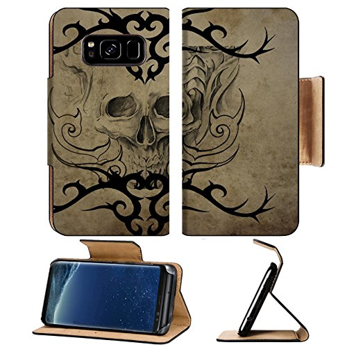 Liili Premium Samsung Galaxy S8 Plus Flip Pu Leather Wallet Case ID: 25378833 Tattoo skull over vintage paper black tribal ()