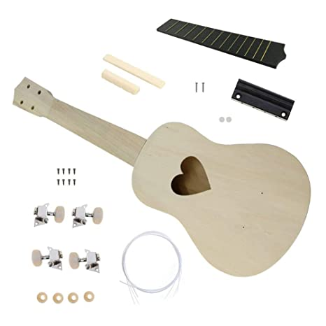 21 pulgadas bricolaje kit ukulele Basswood cuerpo plástico diapasón guitarra pequeña bricolaje asamblea hecha a mano