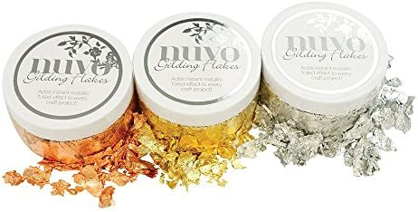 Silver Bullion /& Sunkissed Copper Radiant Gold Nuvo Gilding Flakes 3 Item T