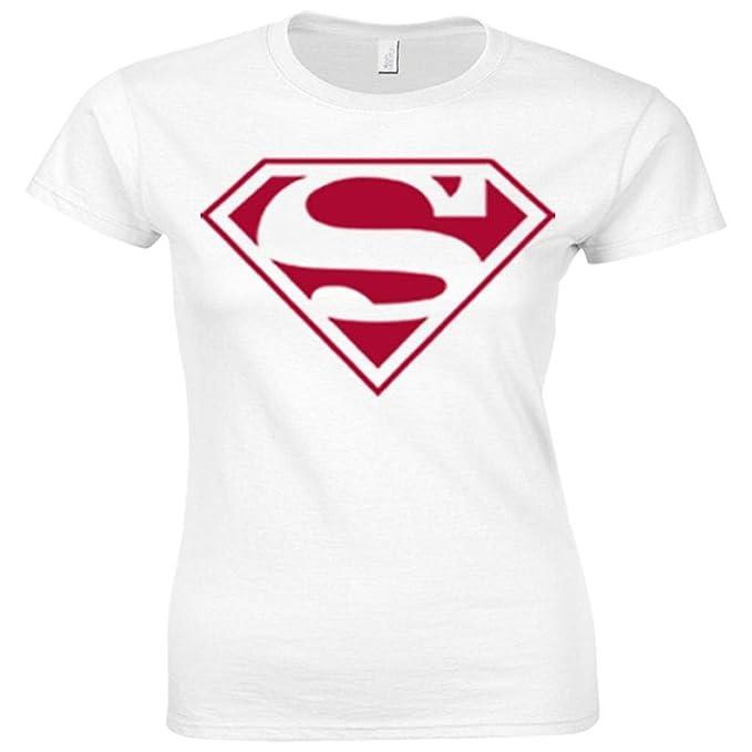inspiró el logotipo de Superman urbana Shaolin Mujeres en equipada Camiseta, Medio, Blanco: Amazon.es: Ropa y accesorios