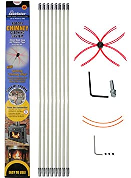 SootEater Rotary Chimney Cleaning System with 18 ft. Flexible White Rods SLK18