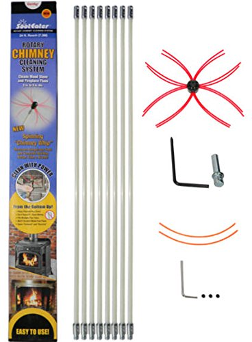 SootEater Rotary Chimney Cleaning System with 24 ft. Flexible White Rods by Rockford Chimney Supply