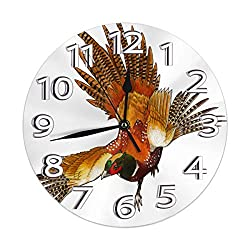 Bird Fir Animal Flight of Cool Pheasant Round Home Wall Clock Non-Ticking Silent Decorative Clocks Battery Operated Decor Indoor Kitchen Personality Decoration Bedroom Living Room Gift