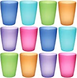 idea-station NEO plastic cups 250 ml, 12 pieces, colorful, reusable, stacking, unbreakable, mug, glasses, tumblers, beaker, for party, camping, kids, childrens